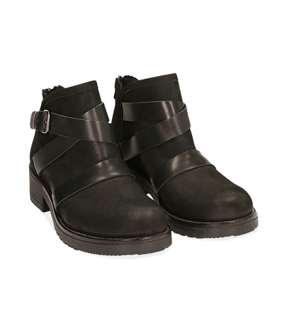 Biker boots neri in nabuk, Scarpe, 1256T0011NBNERO035, 002