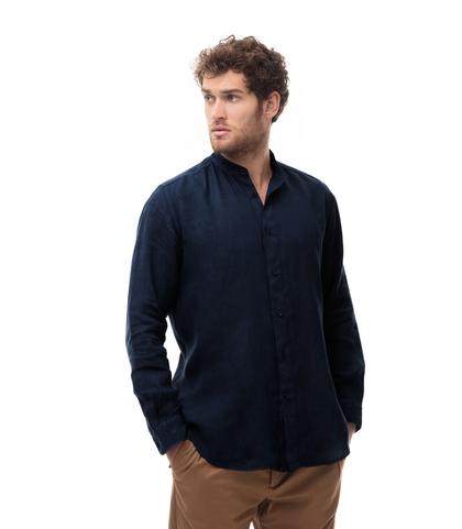 Camicia blu in lino,con collo guru, Abbigliamento, 13H9T8209TSBLUE39, 001