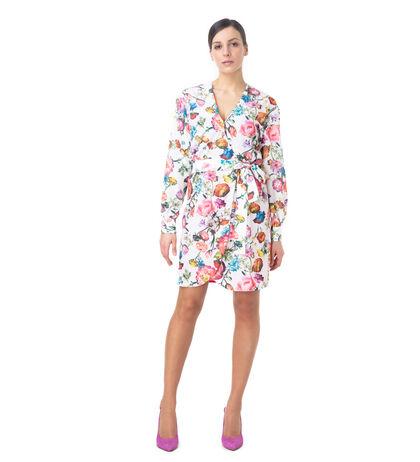 Vestito corto bianco fiorato , Abbigliamento, 13T8T1235TFBIANL, 001