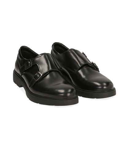 Scarpe doppia fibbia nere in pelle abrasivata, Scarpe, 1098T5472APNERO039, 002