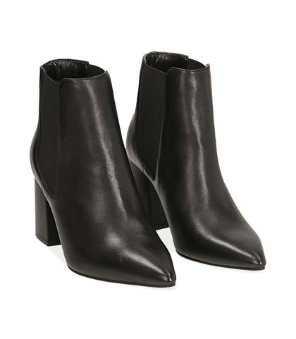 Chelsea boots neri in pelle di vitello , Valerio 1966, 14D6T0611VINERO035, 002