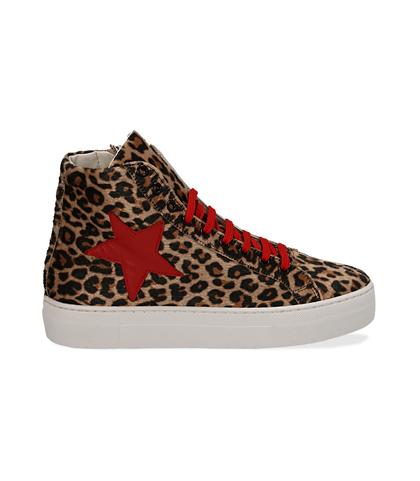 Sneakers leopard in microfibra con gambale alto, Scarpe, 13A6T9013MFLEOP036, 001