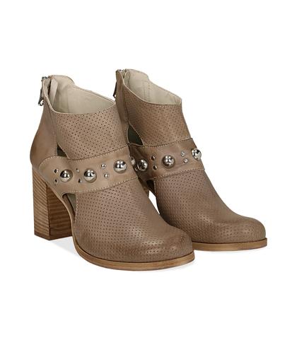 Ankle boots taupe in pelle di vitello con boules sul cinturino, tacco 8 cm, Valerio 1966, 1189T0280VITAUP036, 002