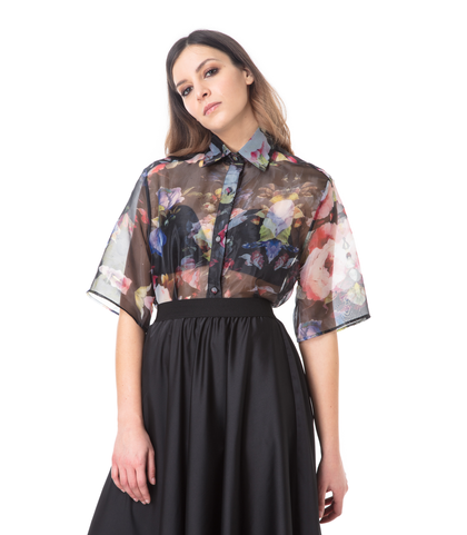 Camicia sheer fiorata, Abbigliamento, 09H9T0021TSFIOR40, 002