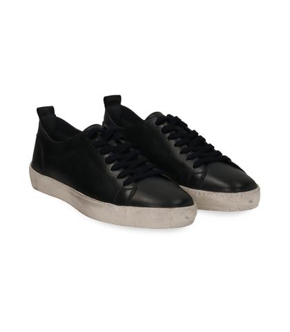 Sneakers blu in pelle con suola bianca, Scarpe, 1377T8081PEBLUE040, 002