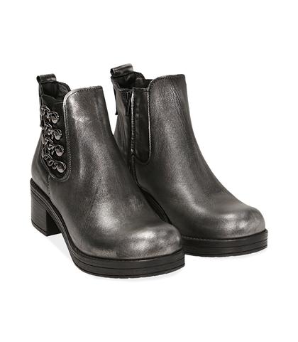 Chelsea boots con catene argento in laminato , Scarpe, 1007S0403LMARGE035, 002