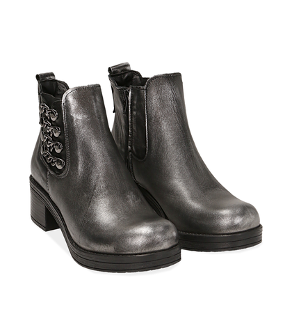 Chelsea boots con catene argento in laminato , Valerio 1966, 1007S0403LMARGE035, 002