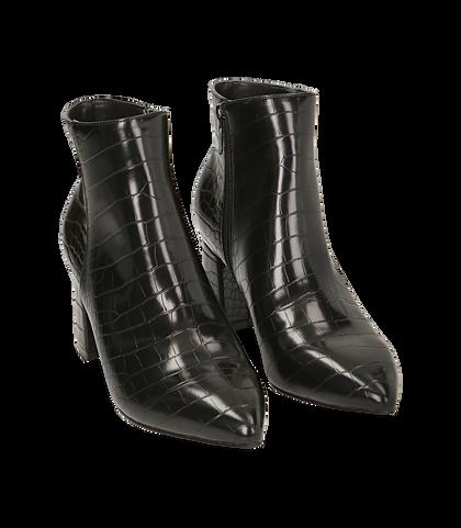 Ankle boots neri stampa cocco, tacco 6,50 cm , Valerio 1966, 1621T3911CCNERO035, 002