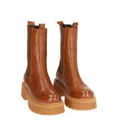 Chelsea boots cognac in pelle, tacco 5,5 cm, Valerio 1966, 18L6T4029PECOGN036, 002 preview