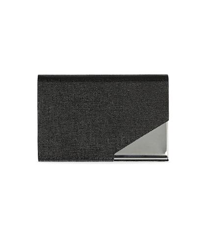 Portamonete nero in pelle con logo embossed, Accessori, 10A4T1000PENEROUNI, 001