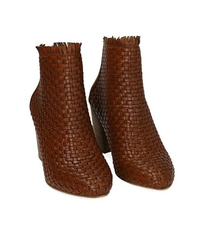 Ankle boots cuoio in pelle intrecciata, tacco 7,50 cm , Valerio 1966, 15C5T5018PICUOI035, 002
