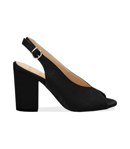 Slingback open toe nere in raso, tacco 9 cm , SUMMER PRICE, 13A4T7505RSNERO036, 001