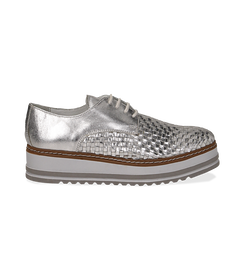 Stringate platform argento in pelle intrecciata, Scarpe, 1162T0622LIARGE036, 001 preview