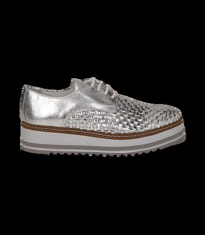 Stringate platform argento in pelle intrecciata, Scarpe, 1162T0622LIARGE036, 001