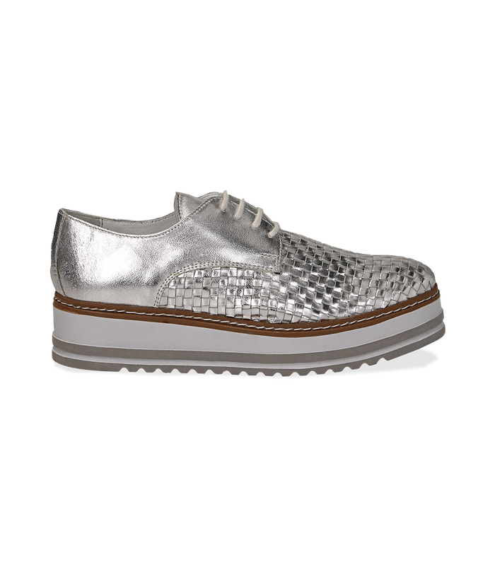 Stringate platform argento in pelle intrecciataScarpe, 1162T0622LIARGE036
