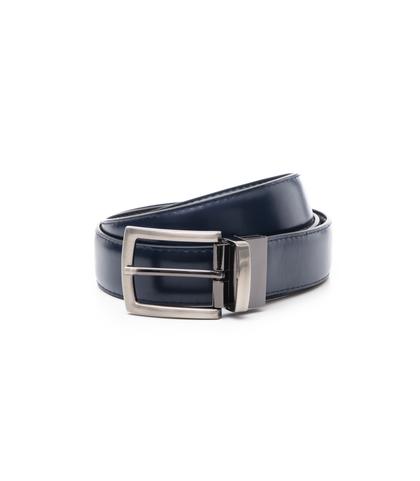 Cintura nero/blu in eco-pelle, Accessori, 1064T6546EPNEBL110, 001
