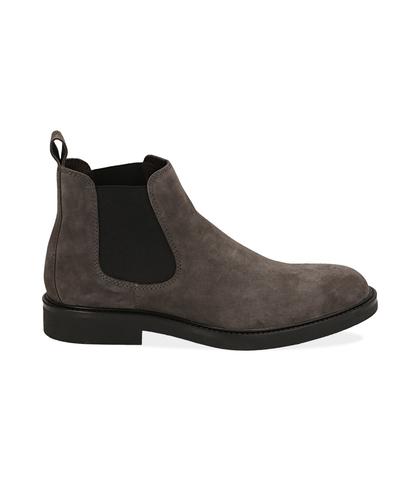 Chelsea boots grigi in camoscio , UOMO, 16D4T1123CMGRIG039, 001