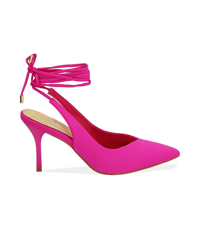 Slingback lace-up fucsia in lycra, tacco 8,5 cm Valerio 1966, 1721T6283LYFUCS036