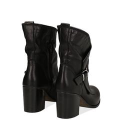 Ankle boots neri in pelle di vitello con gambale traforato, tacco 7 cm, Valerio 1966, 1156T0308VINERO036, 003 preview