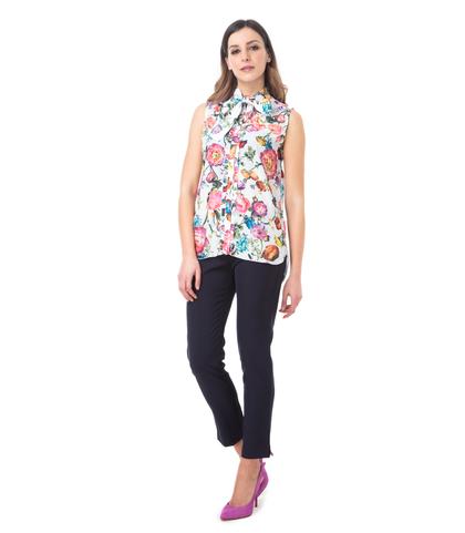 Camicia bianca fiorata, Abbigliamento, 13T8T1237TFBIANL, 001