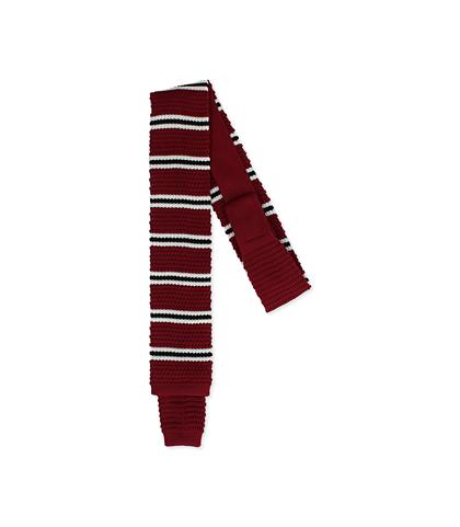 Cravatta bordeaux rigata in cotone con fondo dritto, Valerio 1966, 11I9T0022TSBORDUNI, 001