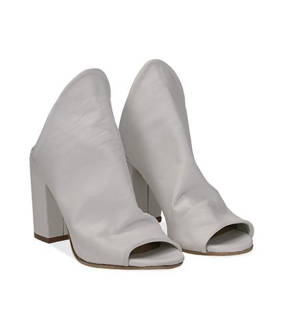 Mules open-toe bianche in pelle, tacco 9 cm , Scarpe, 1356T0917PEBIAN036, 002