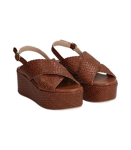 Sandalo con zeppa cuoio in pelle intrecciata, Valerio 1966, 1362T1904PICUOI, 002