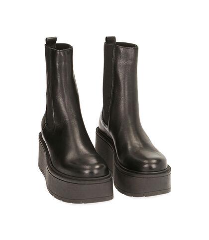 Chelsea boots neri in pelle, platform 6,5 cm , Valerio 1966, 1856T0304PENERO035, 002