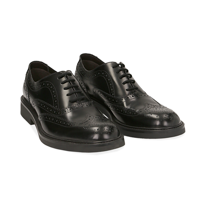 Stringate nere in pelle abrasivata con lavorazione Duilio, Scarpe, 14D4T1103APNERO039, 002