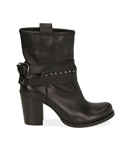 Ankle boots neri in pelle , Valerio 1966, 10A2T0743PENERO035, 001
