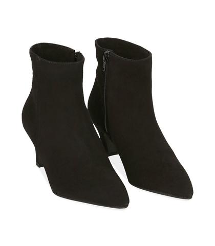 Ankle boots neri in camoscio con tacco a rocchetto, Valerio 1966, 1272T0154CMNERO035, 002