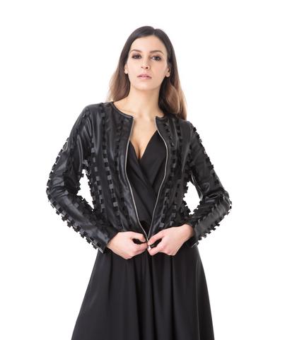 Giacca nera in eco-pelle lavorazione ad intaglio, Abbigliamento, 1365T1080EPNEROL, 002