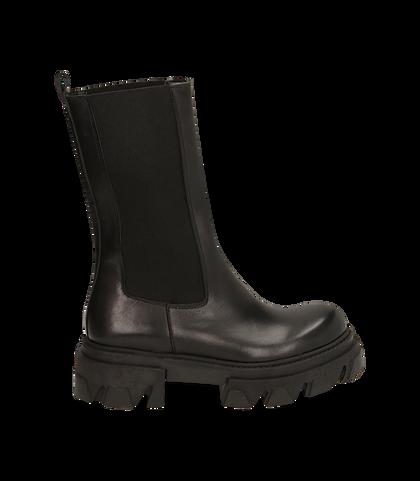 Chelsea boots neri in pelle vitello, tacco 5,50 cm , 16A5T2038VINERO035, 001
