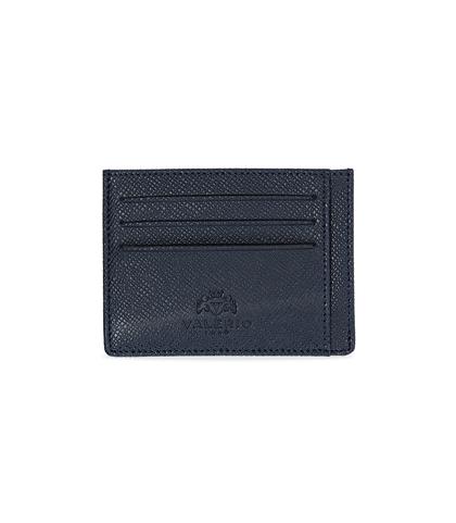 Portafoglio blu in pelle con logo embossed, Accessori, 10A4T1734PEBLUEUNI, 001