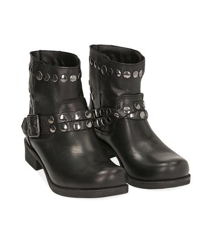 Biker boots borchiati neri in pelle di vitello , Valerio 1966, 1007S0428VINERO035, 002