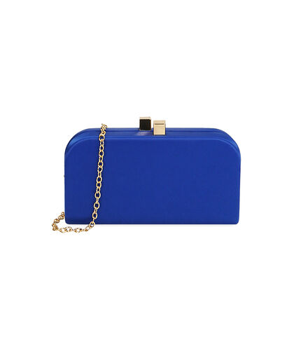 Clutch blu in raso , SALDI DONNA, 1751T9569RSBLUEUNI, 001