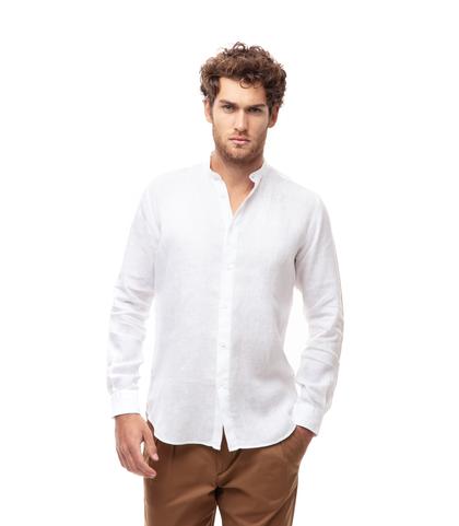 Camicia bianca in lino,con collo guru, Abbigliamento, 13H9T8209TSBIAN39, 001
