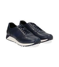 Sneakers blu in pelle con punta affusolata, UOMO, 1195T5688PEBLUE040, 002 preview