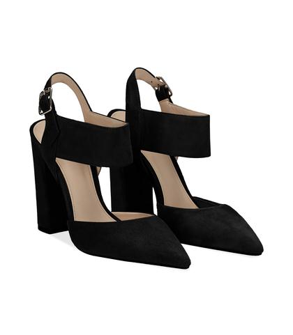 Slingback nere in camoscio con maxi-fascia, tacco 10,50 cm, DONNA, 11D6T0178CMNERO036, 002