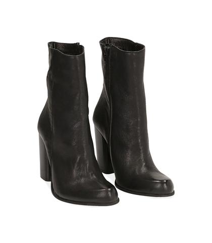 Ankle boots neri in pelle, tacco 9,50 cm , Valerio 1966, 1472T7171PENERO035, 002