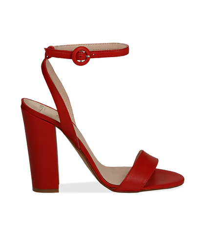 Sandali rossi in vitello, tacco a colonna 11 cm, Scarpe, 13D6T0703VIROSS036, 001