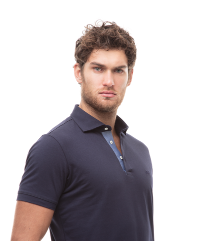Polo blu in jersey, Valerio 1966, 13I5T0130TSBLUE46, 002
