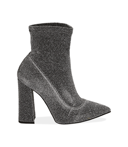 Ankle boots argento in lamè, Scarpe, 1002T7988LMARGE035, 001