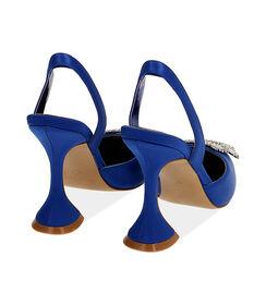 Slingback blu in raso, tacco 10 cm , Valerio 1966, 1721T5712RSBLUE035, 004 preview