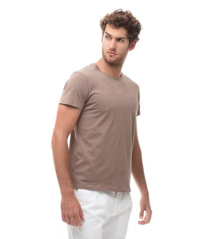 -SHIRT GIROCOLLO TAUPE IN COTONE., Abbigliamento, 13T6T3925TSTAUPL, 001