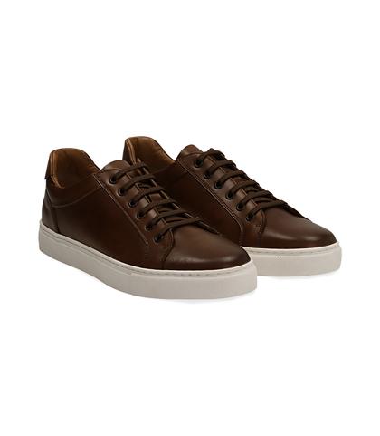 Sneakers testa di moro in pelle con suola bianca, UOMO, 1195T5735PEMORO040, 002