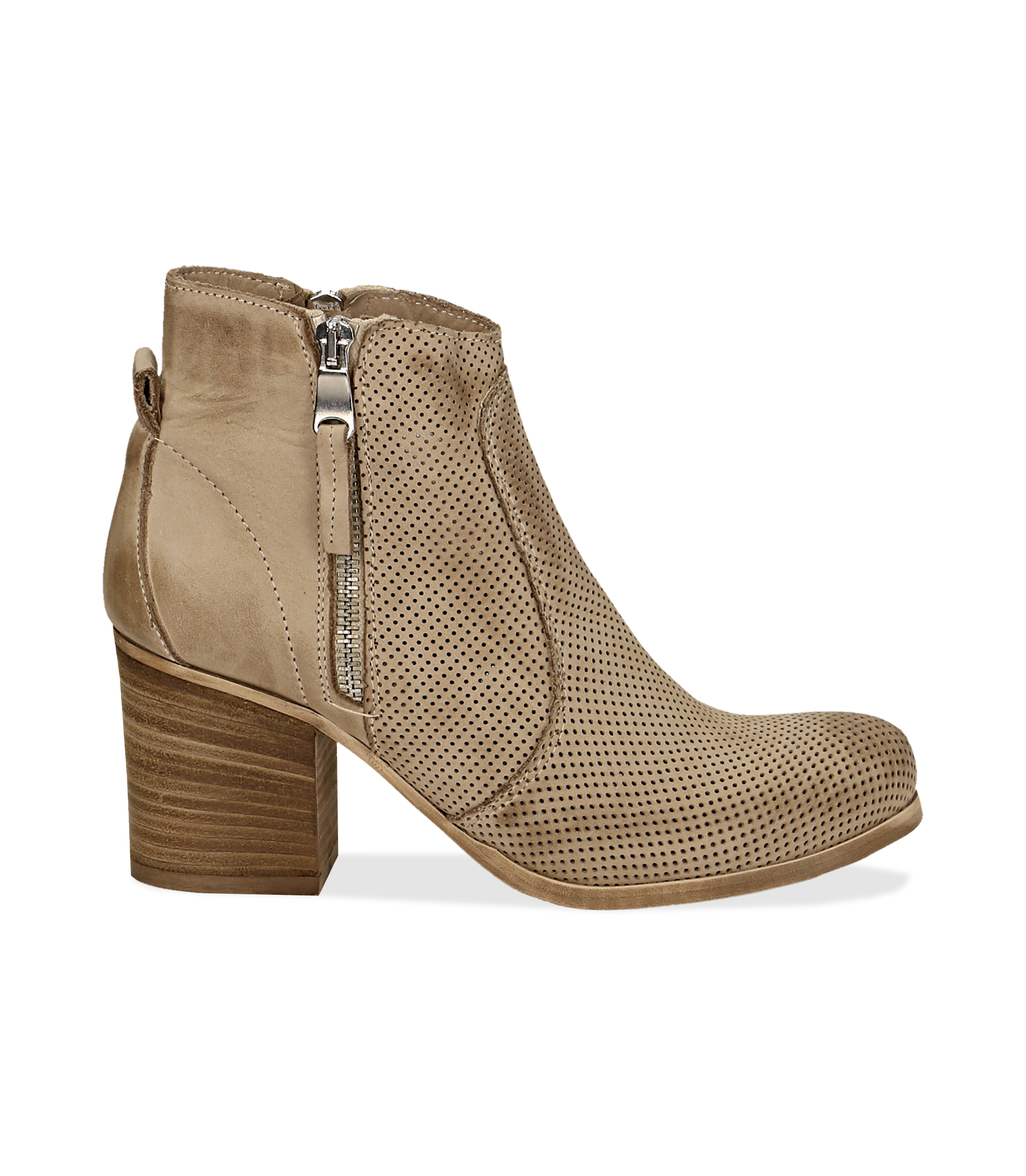 Ankle boots beige in nabuk con punta arrotondata, tacco 7 cm