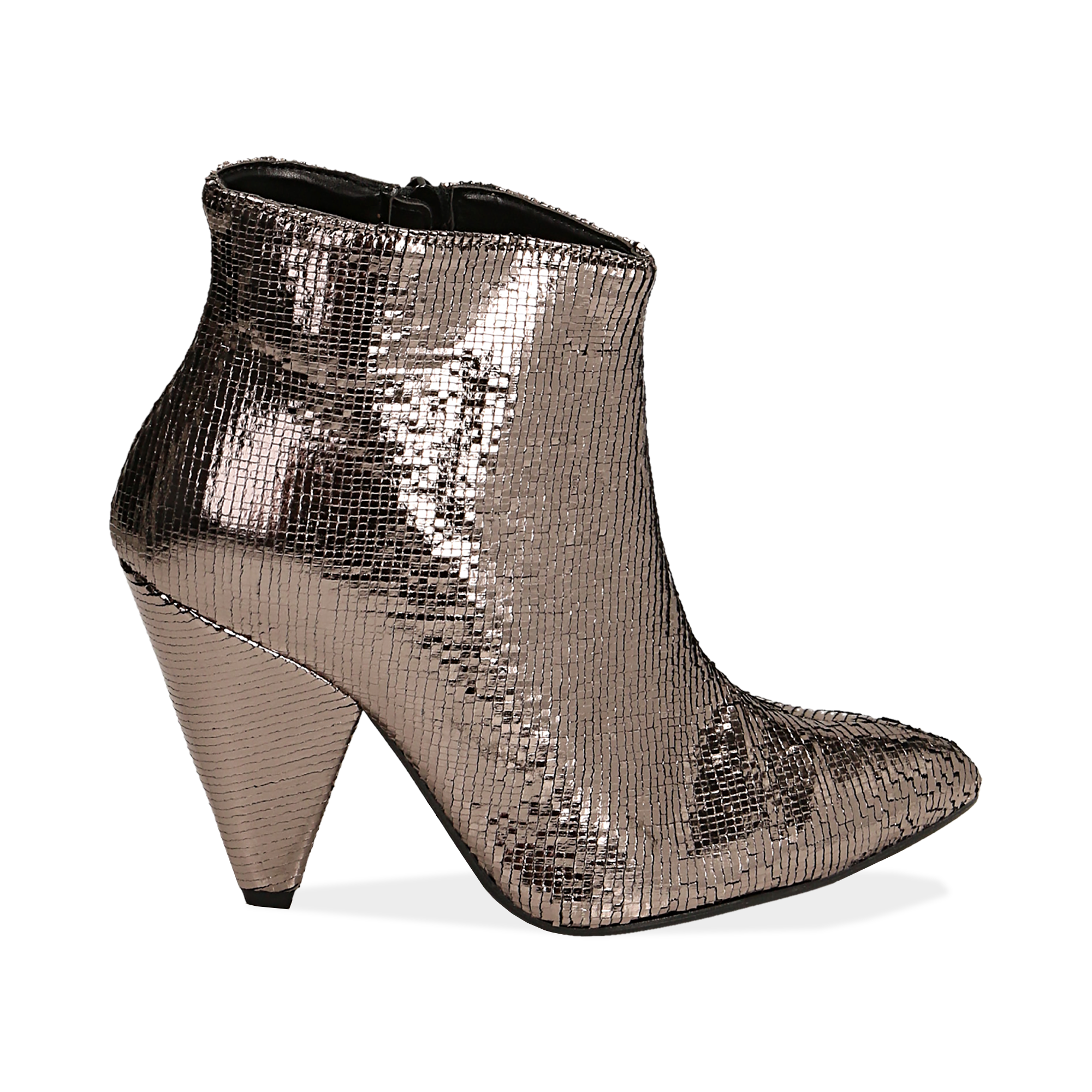 Ankle boots bronzo effetto pitone