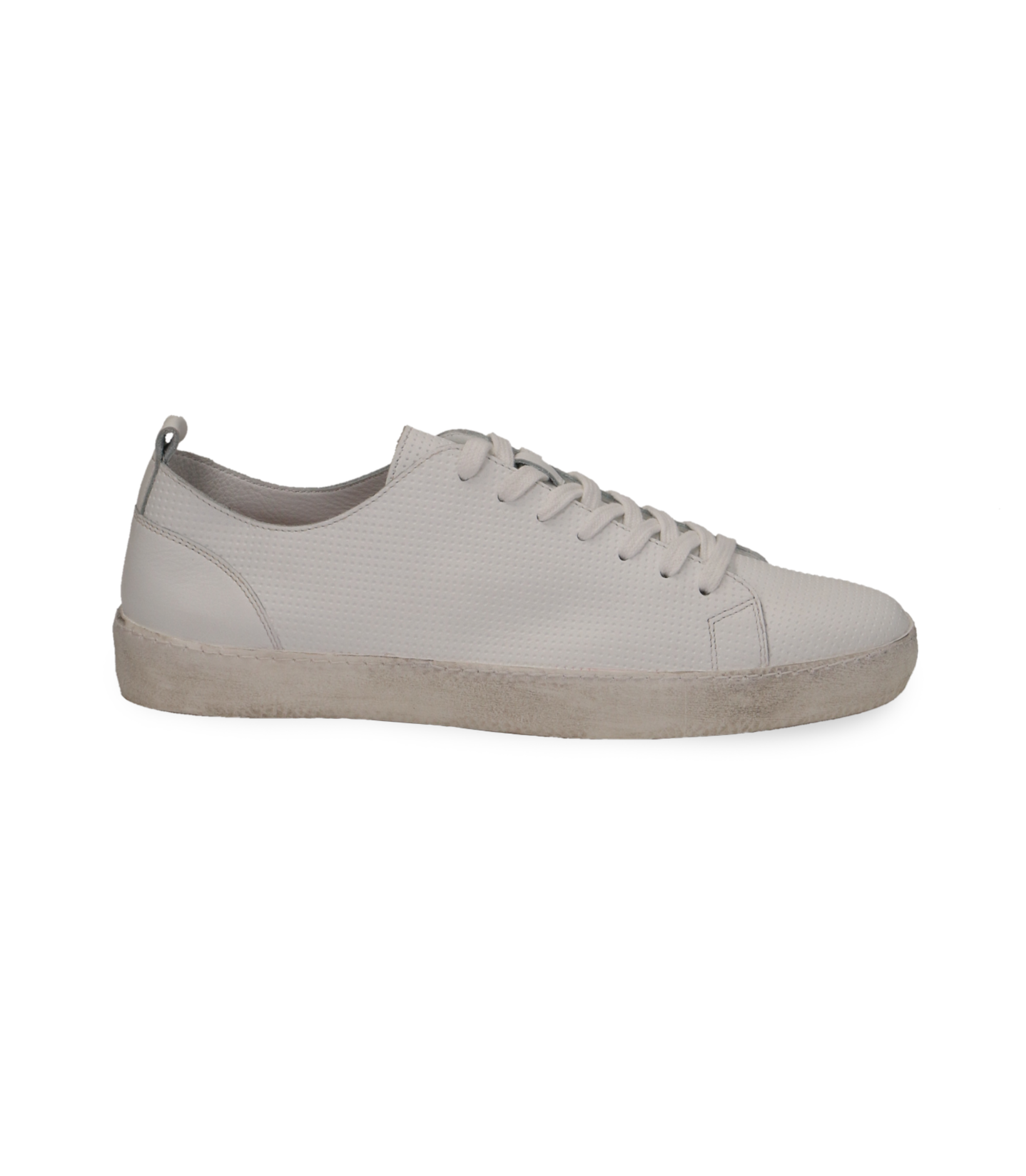 Sneakers bianche in pelle con suola bianca