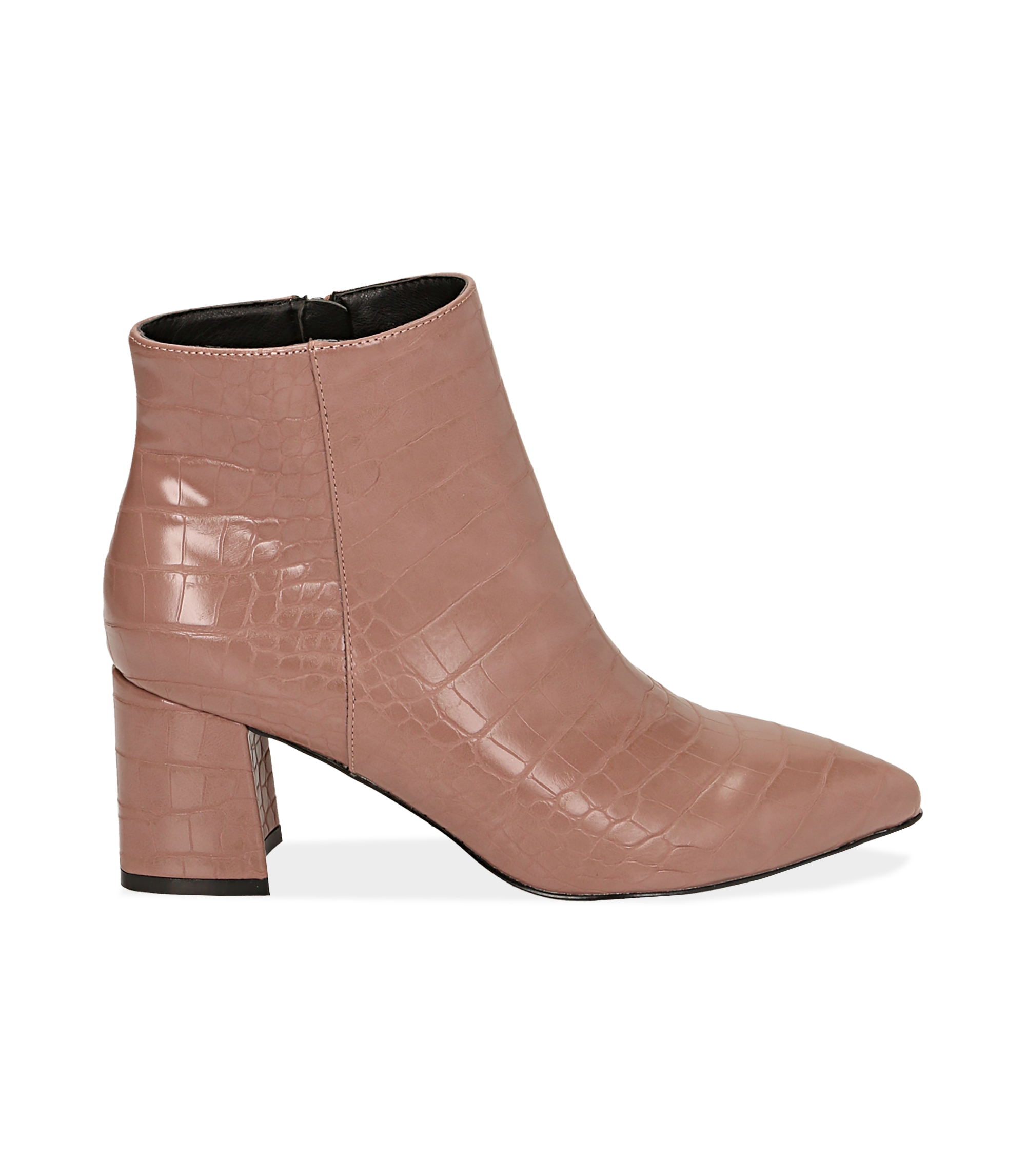 Ankle boots nude stampa cocco, tacco 6,50 cm